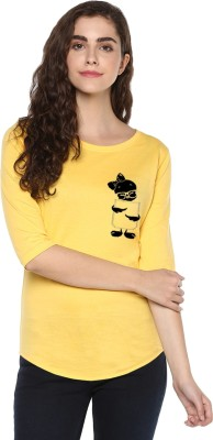 Young Trendz Abstract Women Round Neck Yellow T-Shirt