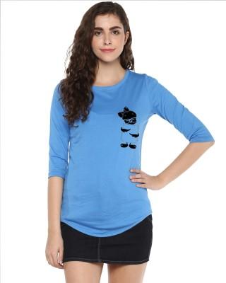 Young Trendz Abstract Women Round Neck Light Blue T-Shirt