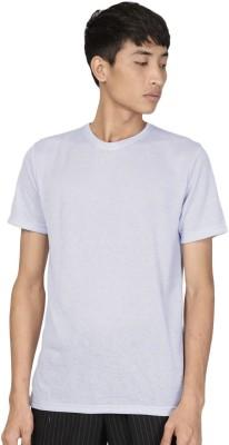 ether Solid Men Round or Crew Grey T-Shirt at flipkart