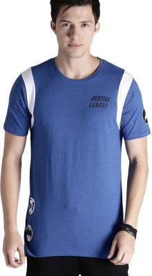 Justice League Printed Men Round or Crew Blue T-Shirt at flipkart