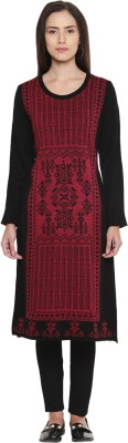 Rangmanch by Pantaloons Women Printed Straight Kurta(Maroon)