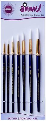 Anmol Artist Painting Brush Fine Synthetic Brush-Series-10(Set of 7 Round)(Set of 1, White)