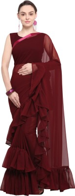 Four Seasons Solid Fashion Georgette Saree(Maroon)