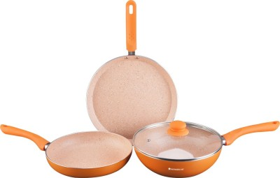 WONDERCHEF Royal Velvet Plus Orange Induction Bottom Cookware Set Aluminium, 4   Piece WONDERCHEF Cookware Sets