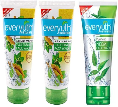 Everyuth Naturals TULSI TURMERIC & NEEM Face Wash 50g x 3 Face Wash(150 g)