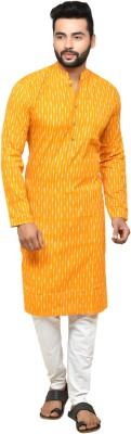 Abhiyuthan Men Striped Straight Kurta(Yellow)