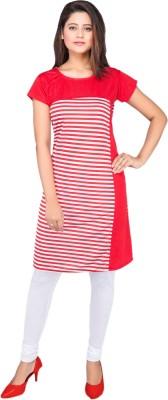 AVISTAR Casual Striped Women Kurti(Red)