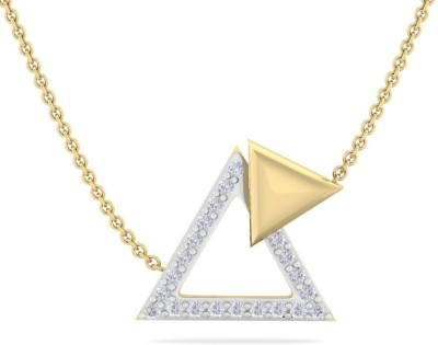 Perrian 0.15Ct Round Diamonds Studded Trangle Pendant With Chain, Jewelry Gift For Women | G H Color, SI Clarity 18kt Yellow Gold Pendant Perrian Pend