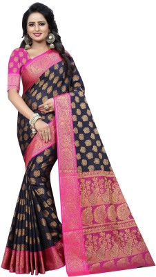 INDIAN BEAUTIFUL Self Design Kanjivaram Cotton Silk Saree(Dark Blue, Pink)
