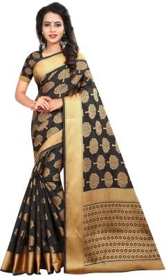 INDIAN BEAUTIFUL Self Design Kanjivaram Polycotton Saree(Black, Gold)