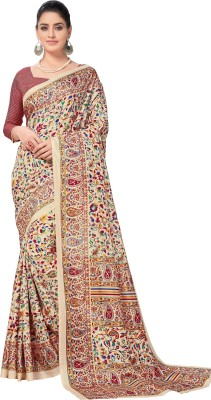 Lady Sringar Printed Kalamkari Art Silk Saree Beige