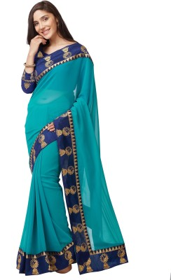 Mirchi Fashion Embroidered Fashion Faux Georgette Saree(Light Blue) Flipkart