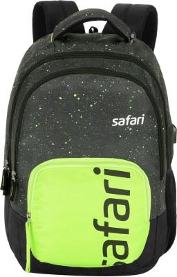 Safari Freckle USB Backpack 32 L Medium Backpack(Black, Green)