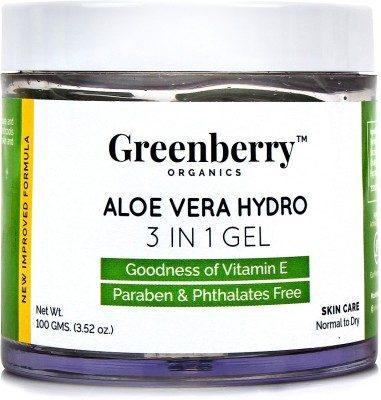 Greenberry Organics 3 In 1 Aloe Vera Gel For Face, Body and Hair(100 g)