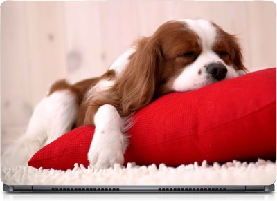 Gallery 83 ® Dog Sleep Red Pillow Exclusive High Quality Laptop Decal, laptop skin sticker 15.6 inch (15 x 10) Inch G83_skin_0211new Vinyl Laptop Decal 15.6