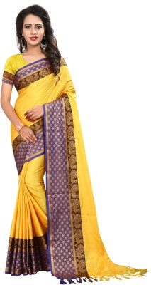 INDIAN BEAUTIFUL Self Design Banarasi Cotton Silk Saree(Yellow)