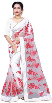 b5da62bf7f Availkart Floral Print, Applique Fashion Cotton Blend Saree(White) best  price on Flipkart