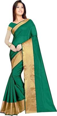 KSH Trendz Self Design Fashion Silk Cotton Blend Saree Green