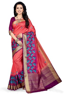 M.S.Retail Embroidered, Embellished Kanjivaram Art Silk Saree(Pink) at flipkart