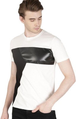 ether Color block Men Round or Crew White, Black T-Shirt at flipkart
