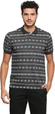 Peter England Self Design Men Polo Neck Grey T-Shirt