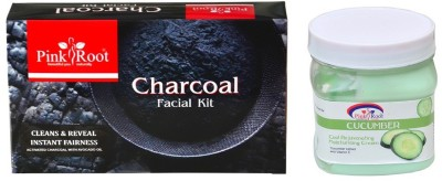 Pink Root CHARCOAL FACIAL KIT 83GM WITH CUCUMBER CREAM 500ML(Set of 2)