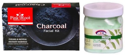 Pink Root CHARCOAL FACIAL KIT 83GM WITH NEEM CREAM 500ML(Set of 2)