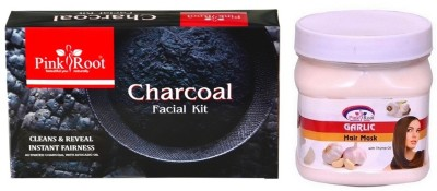 Pink Root CHARCOAL FACIAL KIT 83GM WITH GARLIC HAIR MASK 500ML(Set of 2)