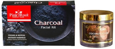 Pink Root CHARCOAL FACIAL KIT 83GM WITH COCONUT SCRUB 100GM(Set of 2)