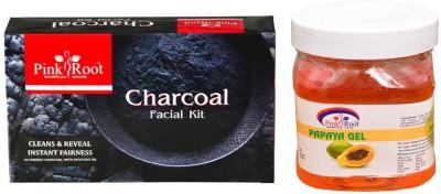 Pink Root CHARCOAL FACIAL KIT 83GM WITH PAPAYA GEL 500ML(Set of 2)