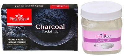 Pink Root CHARCOAL FACIAL KIT 83GM WITH PERAL GEL 500ML(Set of 2)