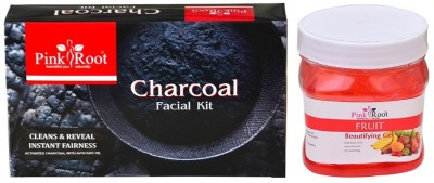Pink Root CHARCOAL FACIAL KIT 83GM WITH FRUIT GEL 500ML(Set of 2)