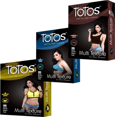 TOTOS WEAR DAY NIGHT PRENIUM MINT & BANANA & CHOCOLATE MULTI TEXTURE FOR MORE PLEASURE DOTTED FOR MEN CONDOM PACK -3 OF 30 PCS CONDOM FOR MEN Condom(Set of 3, 30S)