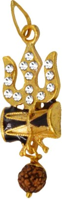 Men Style Cubic Zironia Shiv Trishul Damaru With Rudraksha Gold-plated Alloy Pendant