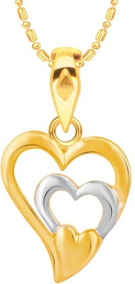 VK Jewels 3 Layered Heart Gold-plated Cubic Zirconia Alloy, Brass Pendant