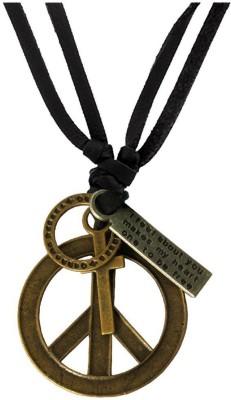 Rich & Famous Hollow Peace Symbol Design adjustable Leather For Men & Boys Alloy Pendant