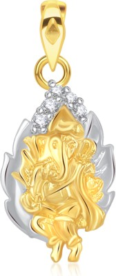 VK Jewels Shree Ganesh in Leaf Gold-plated Cubic Zirconia Alloy Pendant