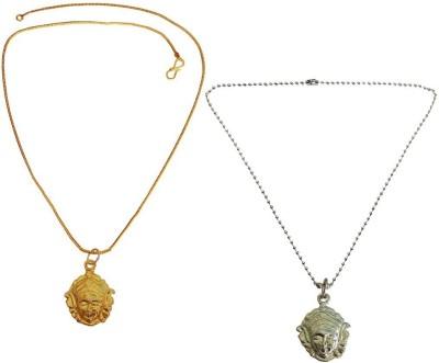 Rich & Famous Maa/Mata Durga Devi Pendant Combo Gold-plated, Silver Metal Pendant Set