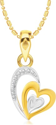 VK Jewels Three Heart Gold-plated Cubic Zirconia Alloy Pendant