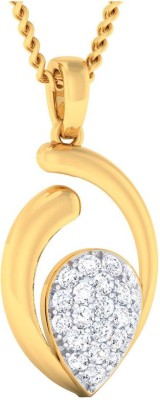JewelTale Glimmering Paisley 14kt Yellow Gold Pendant