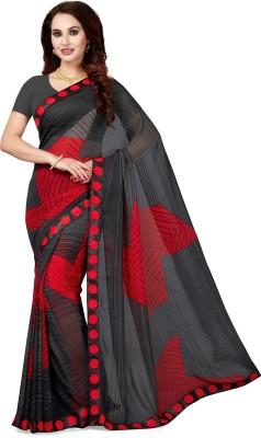 Ishin Printed Daily Wear Faux Georgette Saree(Black)