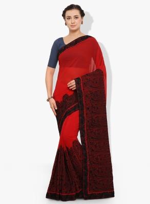 Happy Hours Embroidered Rajkot Georgette Saree(Red) Flipkart