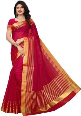 Anand Sarees Striped Daily Wear Georgette Saree(Red)