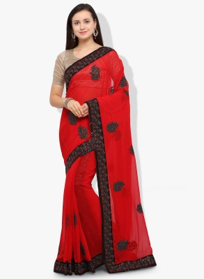 Happy Hours Embroidered Bollywood Georgette Saree(Red) Flipkart
