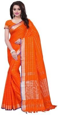 Saara Self Design Chanderi Cotton Linen Blend Saree Orange
