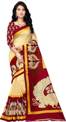 Vimalnath Synthetics Graphic Print Fashion Kota Silk Saree(Beige)