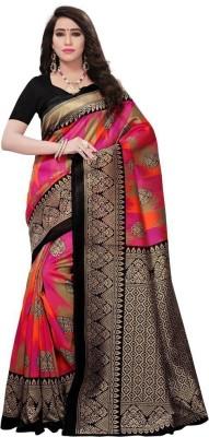 Saara Printed Fashion Silk Saree(Black, Pink)