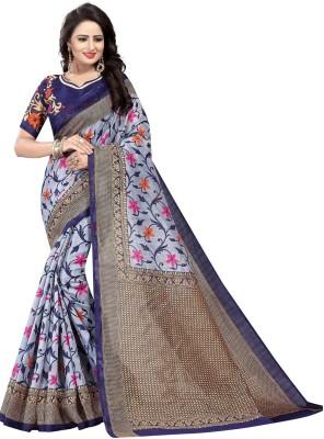 PaLkAaNo Floral Print Fashion Art Silk, Cotton Silk Saree Grey