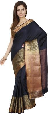 Indian Silks Self Design Bollywood Art Silk Saree Gold, Blue