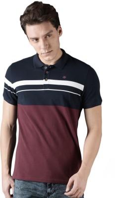 WROGN Color block Men Polo Neck Maroon, Dark Blue T-Shirt
